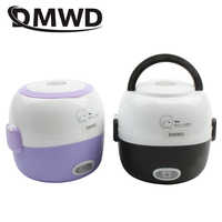 DMWD MINI rice cooker insulation heating electric lunch box 2 layers Portable Steamer multifunction automatic Food Container EU