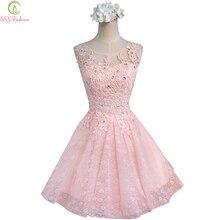 Сладкие коктейльные платья Новые SSYFashion невесты для свадьбы, банкета розовые кружевные короткие платья для выпускного вечера размера плюс вечерние торжественные платья