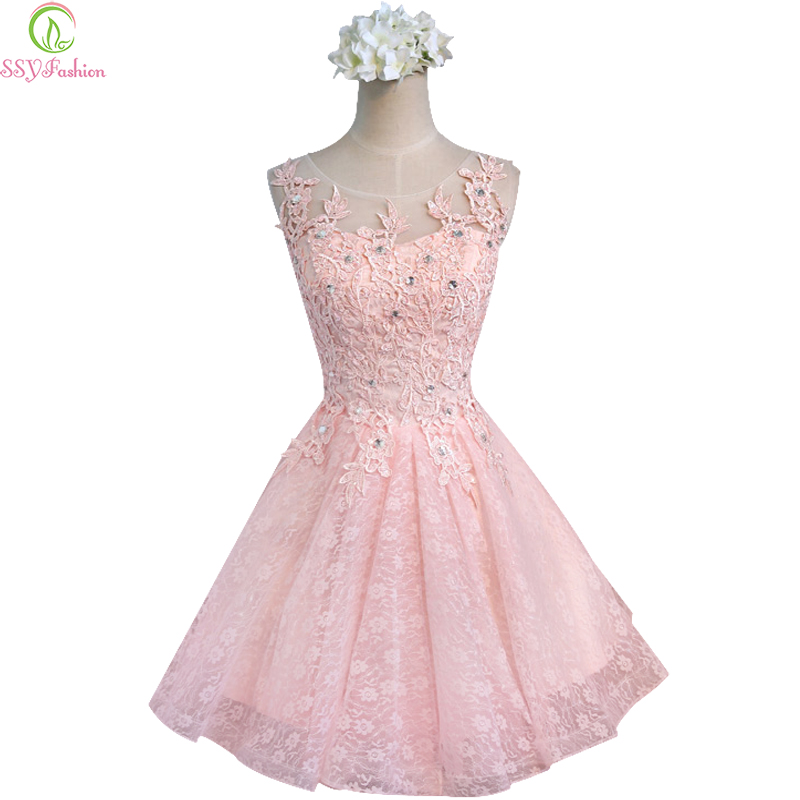 Sweet Cocktail Dresses New SSYFashion Bride Married  Banquet Pink Lace Short Prom Dress Plus Size Party Formal Dresses