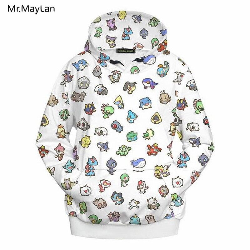 Dibujos Hombres Pokemon Animados Niños mujeres Hipster Capucha Abrigo 3d Hiphop Sudaderas Chaquetas Outwear Streetwear Imprimir Blanco 01 De Ropa Pullovers Xq5g6F