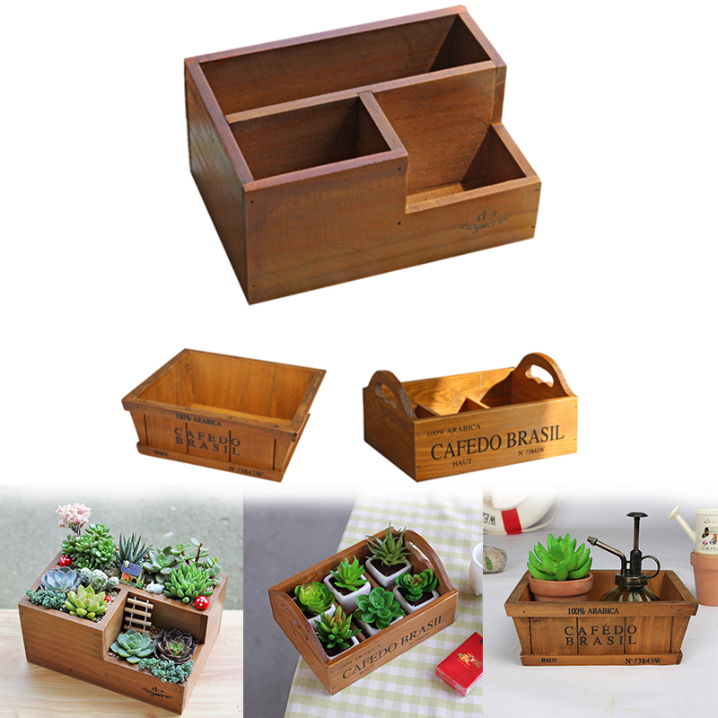 Wooden Flower Pots for Succulent Plants Nursery Garden Planter Window Box Flower Trough Pot Plants Garden Supplies whism storage basket rattan straw basket wicker folding flower pot seagrasss flower baskets garden planter pot de fleur suspendu