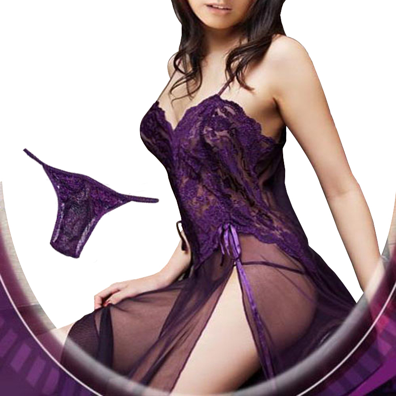 Plus Size XXL S- 6XL Purple Black Blue Mesh Sheer Night Dressing Gown Sexy Long Nightgown Sleepwear Nightie Lingerie Large Women