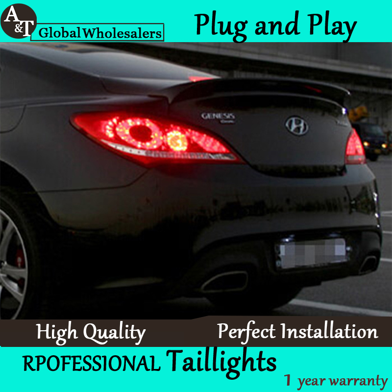 A&T Car Styling for Hyundai Rohens Coupe LED Taillights 2009-2012 Coupe Tail Light Rear Lamp DRL+Brake+Park+Signal