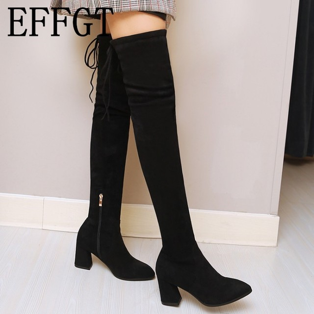 a3bdf4485fa EFFGT Women boots elastic cloth Faux Suede Thigh High Boots Sexy Fashion  Over the Knee Boots High Heel boots Woman Shoes H808