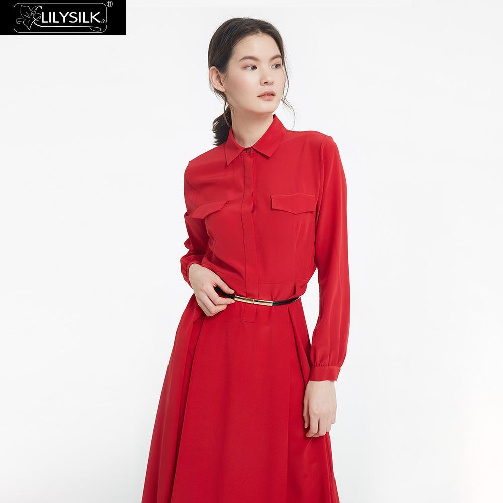 Femmes Longues Gratuite Lilysilk Dames De Robe Pour À Livraison Rétro Red Manches Soie Gracieux BCCxpFwZq