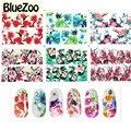 BlueZoo 6 hojas/paquete de la Vendimia Colorida Flor Calcomanías Accesorios Del Arte Del Clavo de Transferencia de Agua de La Cubierta Completa Pegatinas de Uñas Sello Etiqueta