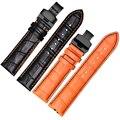 Натуральная кожа ремешок для наручных часов черный orange нить с кнопкой бабочкой Замена ремня для Mido M005 ремень для мужчин 18/20 мм/22 мм/23 мм