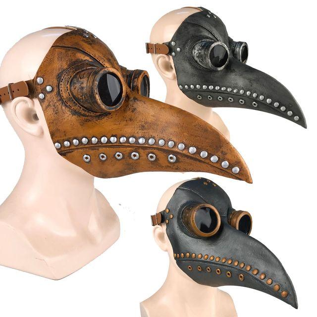 Komik ortaçağ Steampunk veba doktor kuş maskesi lateks Punk Cosplay maskeleri gaga yetişkin cadılar bayramı olay Cosplay sahne