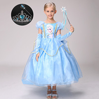 Light Blue 6 Layers Kids Clothes Birthday Party Wear Promotion High Quality Girls Princess Anna Elsa