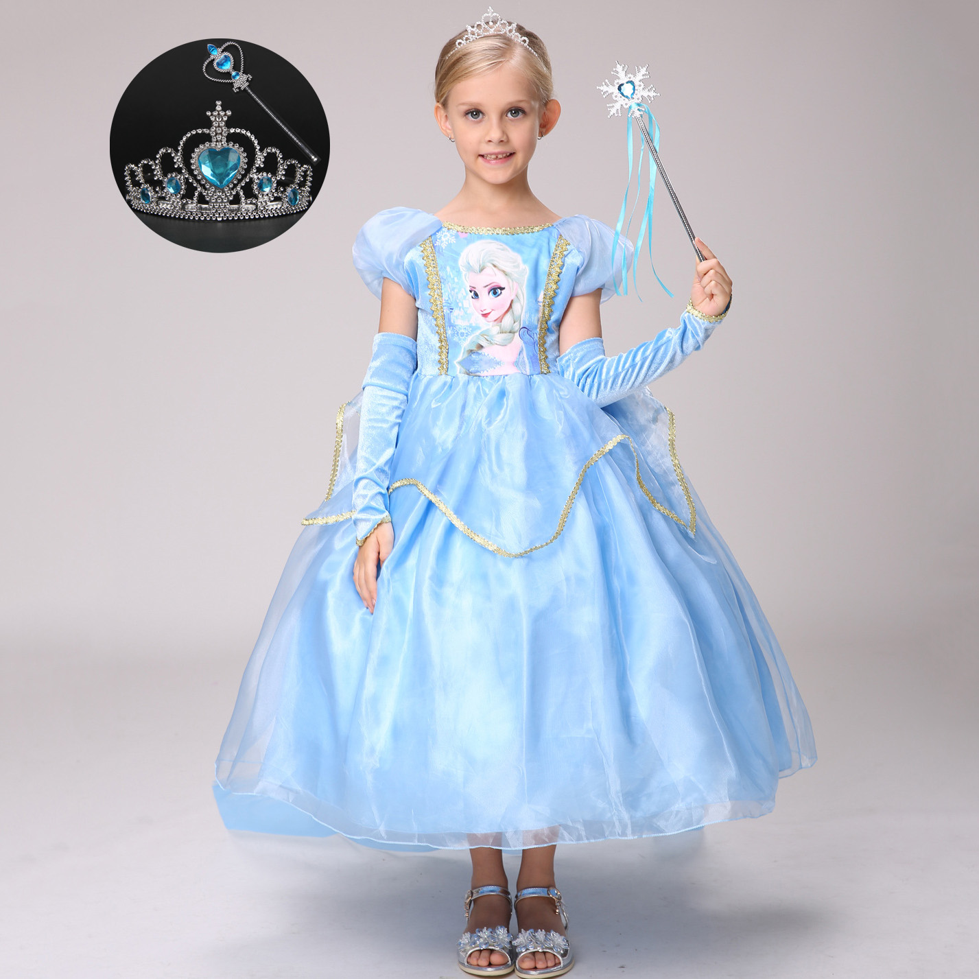 Light Blue 6 Layers Kids Clothes Birthday Party Wear Promotion High Quality Girls Princess Anna Elsa Cosplay Girl Dress 4good kids s45 blue