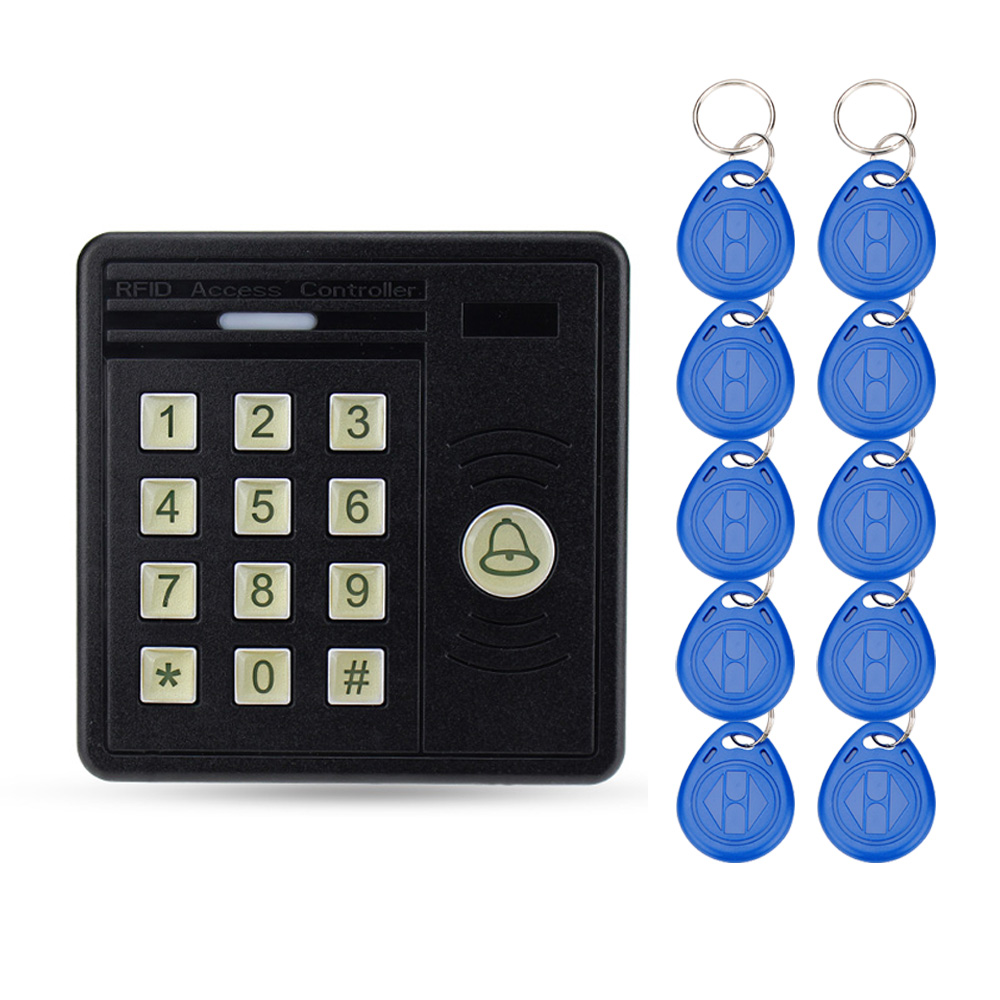 RFID standalone waterproof access control keypad 125KHz card reader +10 TK4100 keyfobs for door access control system on sale waterproof door security access control system 125khz rfid card access control outdoor opener with rain cover 10 piece keyfobs