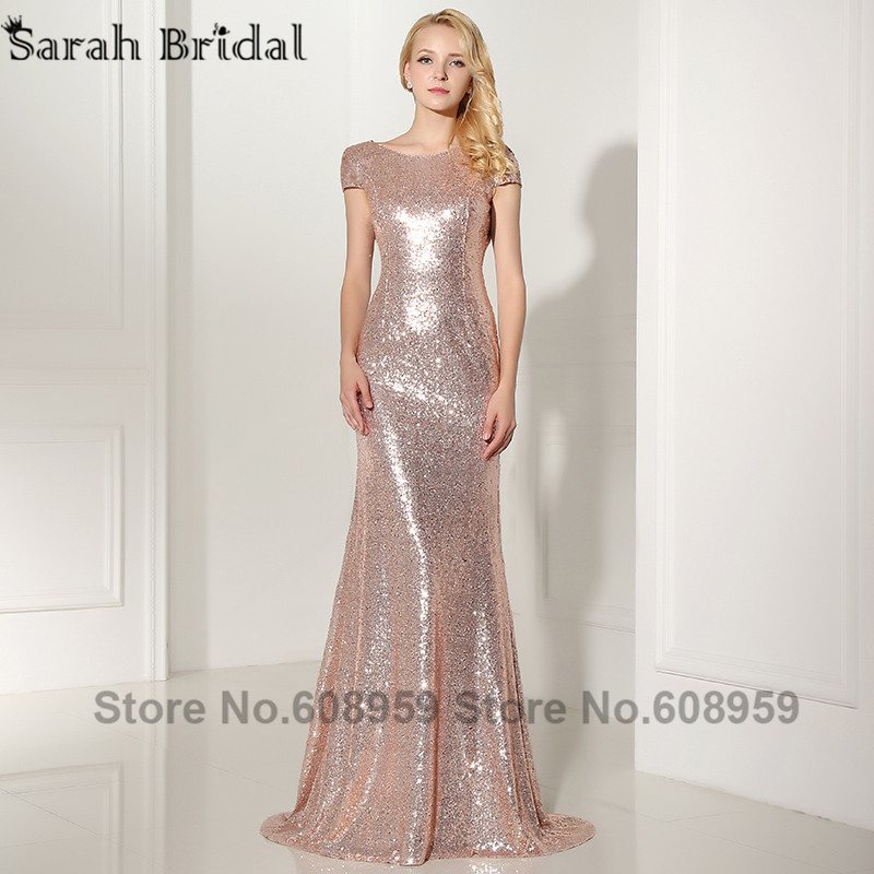 Sexy Cowl Backs Rose Gold Sequined Evening Dresses 2017 New Real Pictures Backless Mermaid Party Gown with Sleeves Vestido SD347