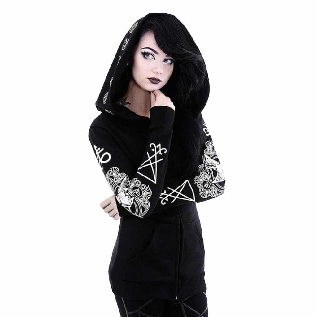 5XL тонкая весенне-осенняя Женская Черная Куртка в готическом стиле панк с длинным рукавом и капюшоном, пальто размера плюс, верхняя одежда, повседневный топ с капюшоном