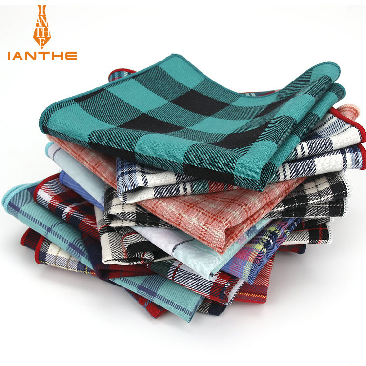 Brand Casual Men's 100% Cotton Handkerchiefs Woven Plaid Pocket Square Male Wedding Party Handkerchief Towels Hanky Corbatas