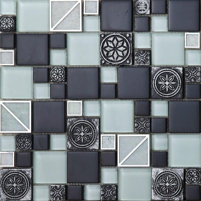 Zwart Wit Tegels.Us 229 99 3d Europese Zwart Wit Mozaiek Hars Relief Gesneden Bloem Tegel Backsplash Muur Sticker Mix Mozaiek Kaki Tegels Badkamer In 3d Europese