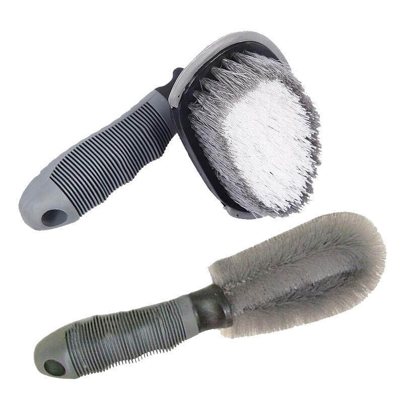 LUOEM 1 Set of Short Handle Multifunctional Wheel/Tire Brush+Wheels Brush Hand Washing Brush Detail Brush for Car Cleaning