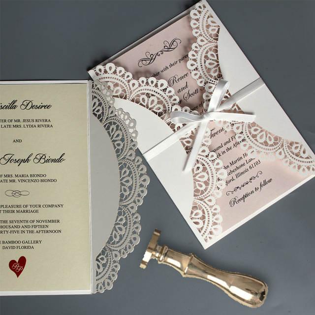 Fancy Wedding Invitations.Elegant Wedding Invitation Ivory White Laser Cut Invitation Lace Wedding Invitations With Envelope Set Of 50