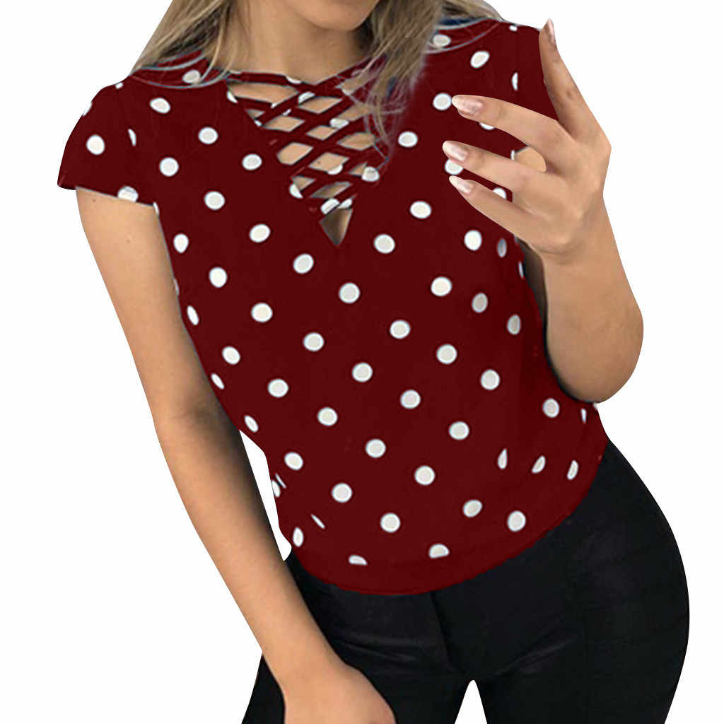 Vrouwen Mode Dot Blouse Sexy V-hals Tuniek Top Casual Slim Korte Mouw Chiffon Blouse Womens Tops En Blouses Dropshipping
