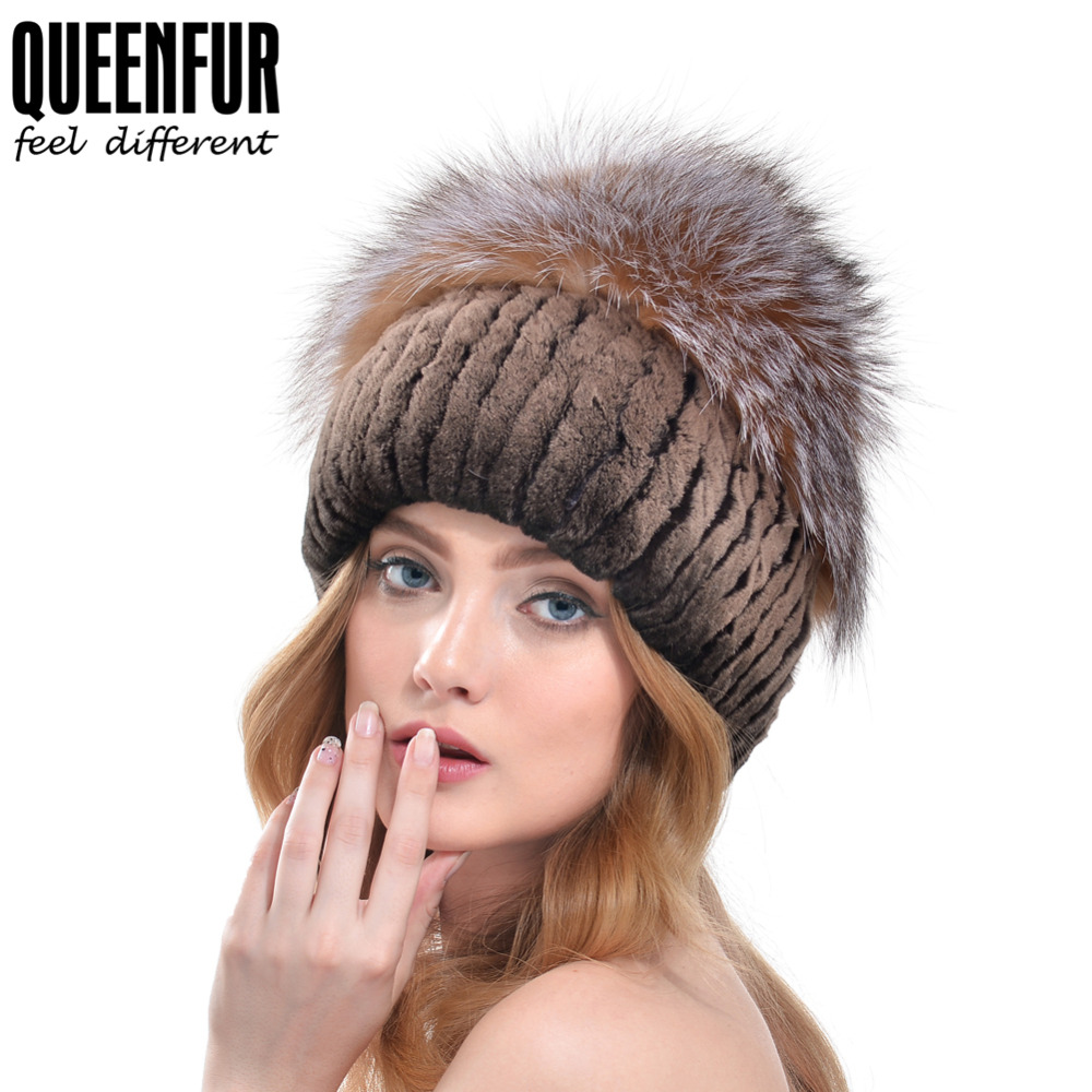 aaea72990e0 QUEENFUR 2016 New Women Real Rex Rabbit Fur Hat With Natural Fox Fur Pom  Poms Beanies Winter Warm Thick Genuine Knitted Fur Cap-in Skullies   Beanies  from ...