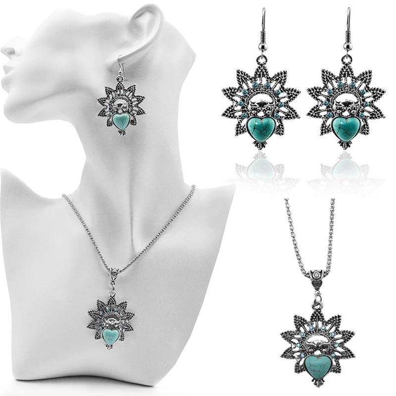Women Popular Charming Alloy Silvery Stone Owl Rhinestones Necklace Earring Jewelry Set Fashion