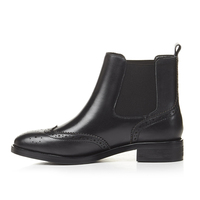KSJYWQ Gladiator Genuine Leather Women S Boots Brogue Ankle Shoes 3 CM Chunky Heels Classic Platform