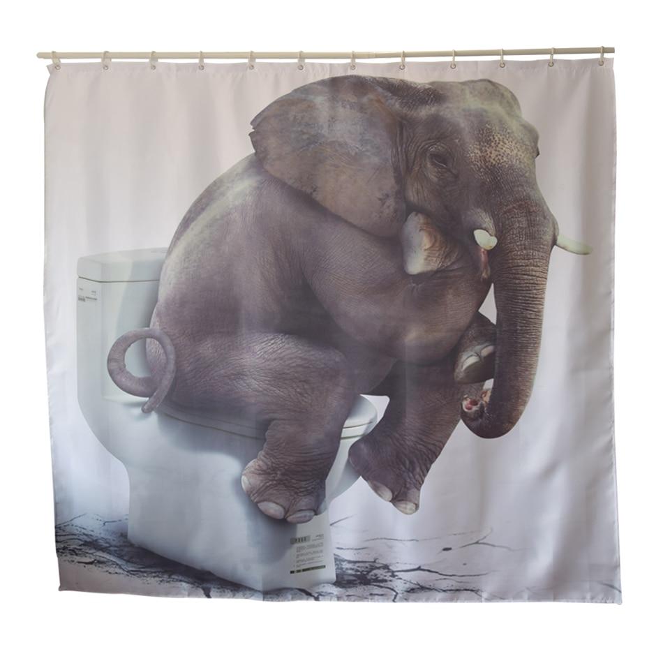 Papa&Mima ganesha Elephant printed Waterproof Shower Curtains Polyester Bathroom Curtains With Hooks 180x180 Decorative Bathtub