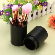 High Quality Empty PU Leather Cosmetic Case 4 Colors Portable Storage Makeup Bags Organizer Brush Holder Cup
