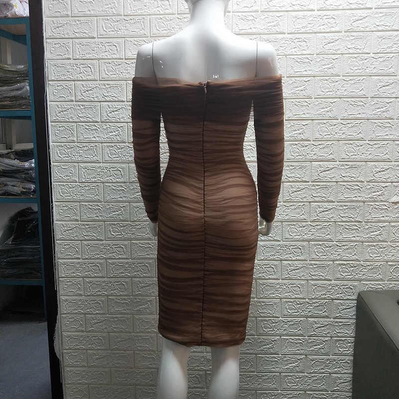 Высококачественное коричневое Сетчатое Бандажное платье с длинным рукавом и вырезом лодочкой из вискозы, вечернее облегающее платье для вечеринки