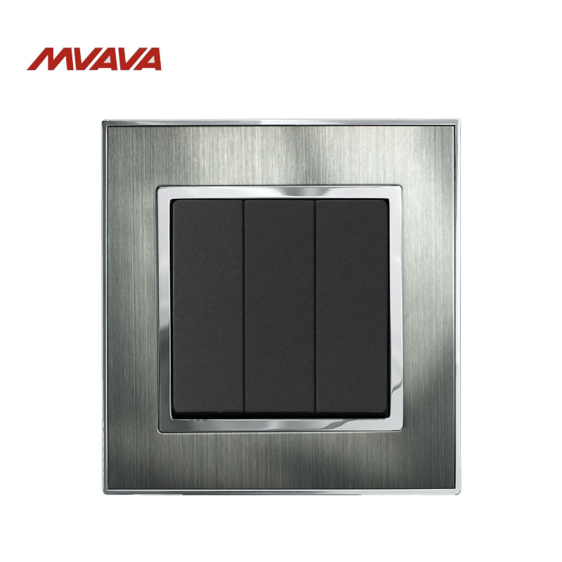 MVAVA Electric Light Switch 3 Gang 2 Way Lamp Wall Push Button EU/UK Standard Metal Silver Light Control AC 220V Free Shipping usb thermostat temperature control push button switch timer switch third gear with led light line 5v 2 5a