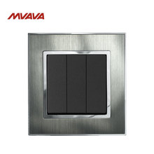 MVAVA Electric Light Switch 3 Gang 2 Way Lamp Wall Push Button EU/UK Standard Metal Silver Light Control AC 220V Free Shipping free shipping ac 220v 6 teeth drive shaft electric hammer armature rotor for hitachi vrv 16 high quality
