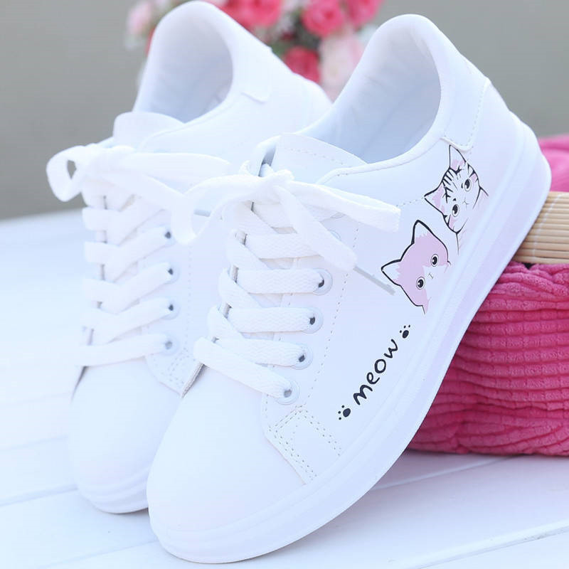2019 New Arrival Fashion Lace-up Women Sneakers Women Casual Shoes Printed Women Pu Shoes Cute Cat Canvas Shoes