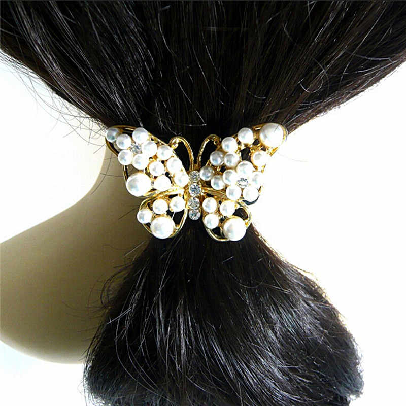 Эластичная Повязка acessorios пункт cabelo turbante cheveux Для женщин Прекрасный имитация жемчуг Бабочка волос веревки кристалл волос