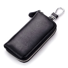 Fashion Genuine Leather Car Key Wallets Male Key Holder Keys Organizer Women Keychain Cover Zipper Key Case Bag Pouch Purse 006