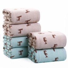 Cute Deer Double Fabric Absorbent Bath Towels for Adults Children Cotton Thicken 70*140 Bathroom Towel Toalhas