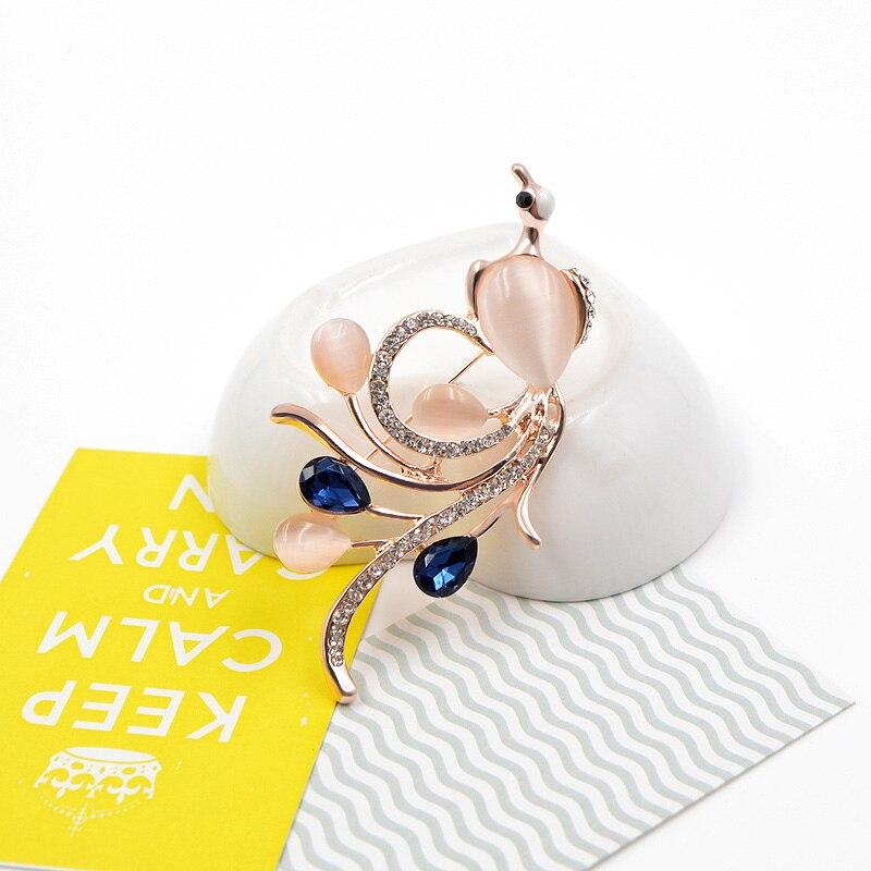 CINDY XIANG Opal ve CZ Rhinestone Phoenix Kadınlar için Lacivert - Kostüm mücevherat - Fotoğraf 4