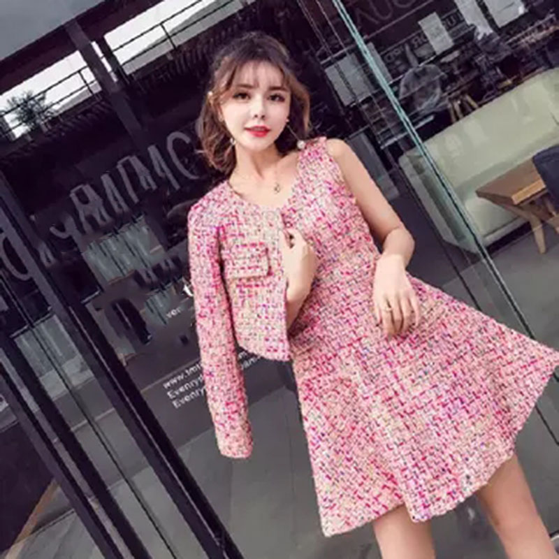 2 piece set women Suit female2018spring and autumn new ladies small fragrance suit n temperament lady sweet fashion tweed suit