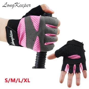 LongKeeper Women Fingerless Gloves Pink Black Grey Half Finger Sport Guante Gym Mitten Weightlifting Dumbbell Guant eldiven S-XL