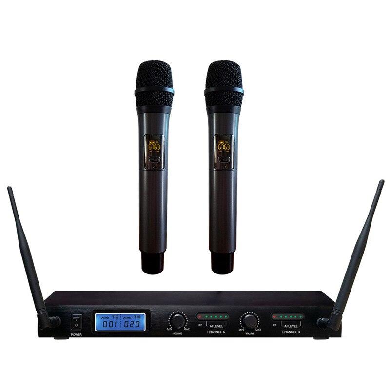 Professionnel Multi-fonctionnelle 2 Dual Channel Mic Sans Fil Sans Fil LCD Affichage Studio Microphone Sans Fil Microphone