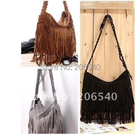 FRee shipping Celebrity Tassel Fringe Suede Shoulder Cross Body Women Handbag Messenger Bag
