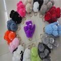 New Style Rabbit Pendant Real Fur Car Keyring Mengmeng Rabbit Fur Brand Bag Charms Keychain Fur Key Rings Accessories Regalo