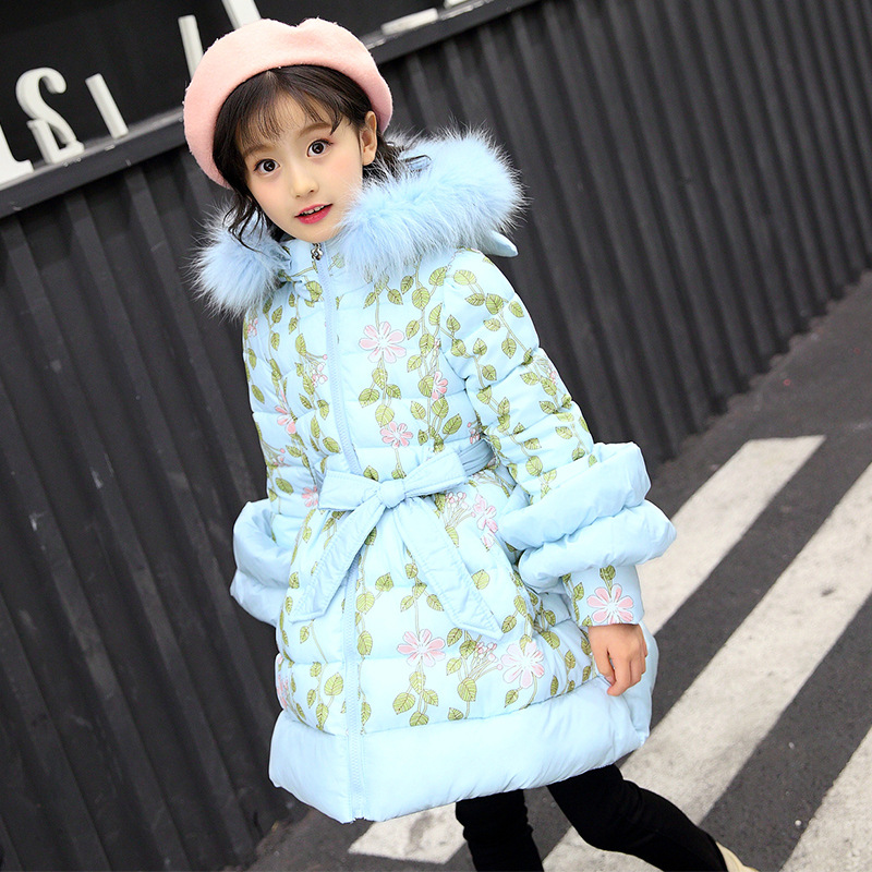 Girls Parkas 2018 Winter Girl Coat Fashion Thickening Cotton-wadded Jackets Hooded Fur Collar Children's Outerwear 110-160 2017 new winter women wadded jacket outerwear plus size hooded loose thickening casual cotton wadded coat parkas student ws299