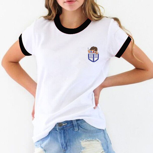 c08f0c90 PyHen Doctor Who Design Ringer T Shirt women Fashion Casual Funny Cartoon  Doctor who in the pocket Goku Printed Tee tops