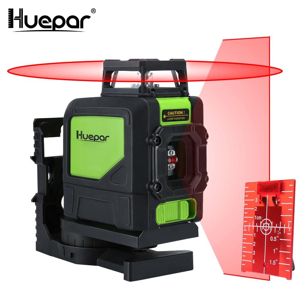 Huepar 5 linhas 3d cruz linha laser nível vermelho feixe vertical horizontal lasers 360 rotativo auto-nivelamento profissional ferramenta de nivelamento