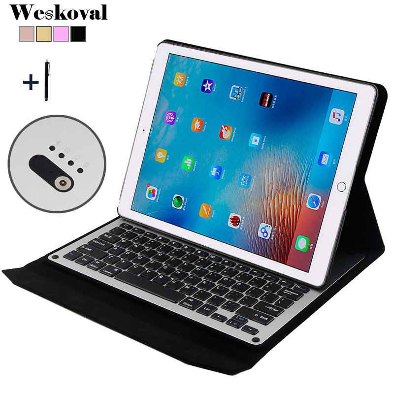 купить For iPad Pro 12.9 inch (2015) Wireless Bluetooth Keyboard Case For 2015 iPad Pro 12.9'' Tablet Aluminum Alloy Stand Cover+Stylus онлайн