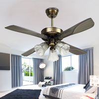 Mising AC110 240V 42 Inch Vintage Ceiling Fan With LED E27 Retro Lamp and Remote Control for Home Indoor Livingroom Bedroom
