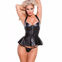 Hot Sexy Black Zipper Faux Leather PVC Women Club Dress 2016 Bodycon Party Dresses Ladies Vestidos