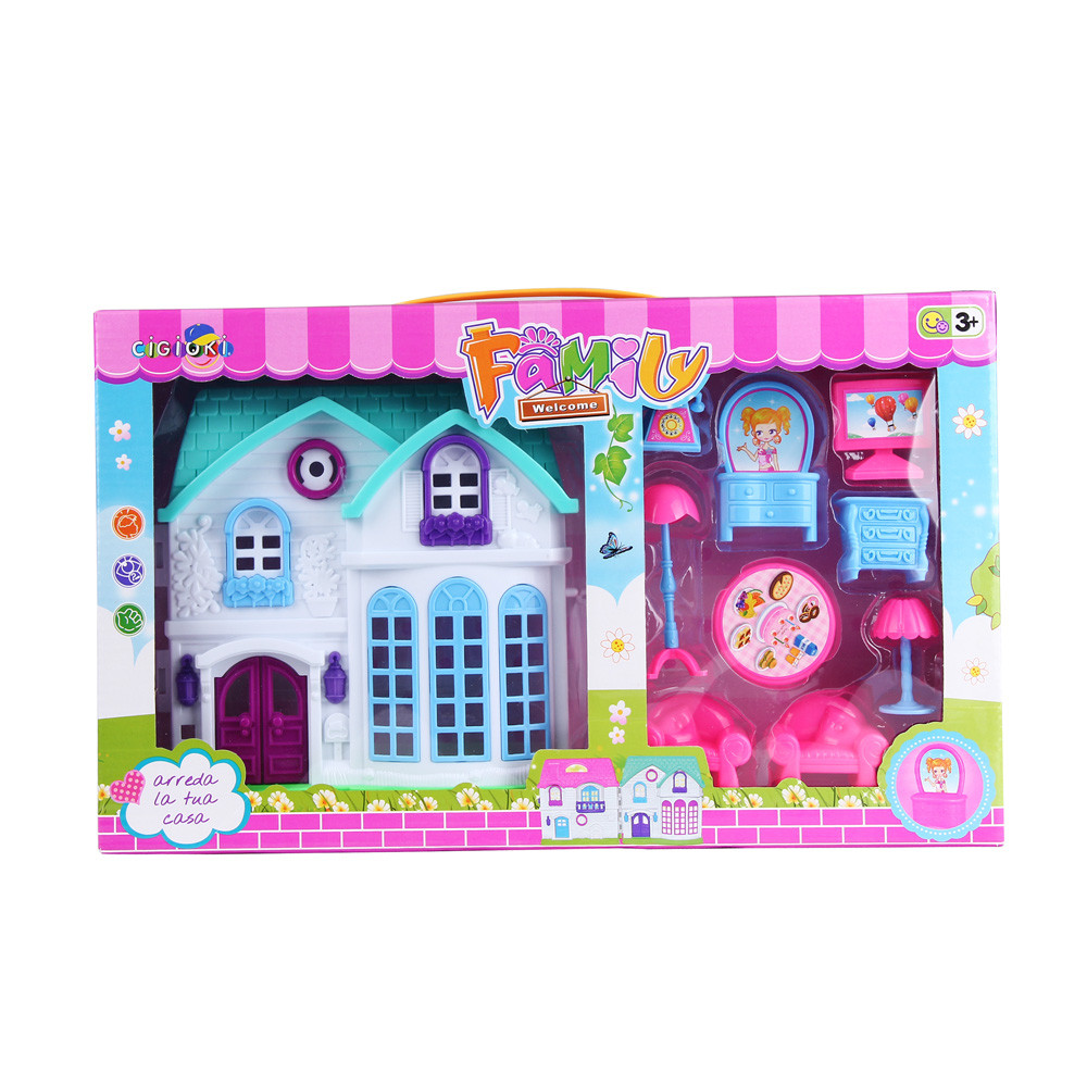 1Set House Castle Villa Toy Baby Simulation Family Scene L412