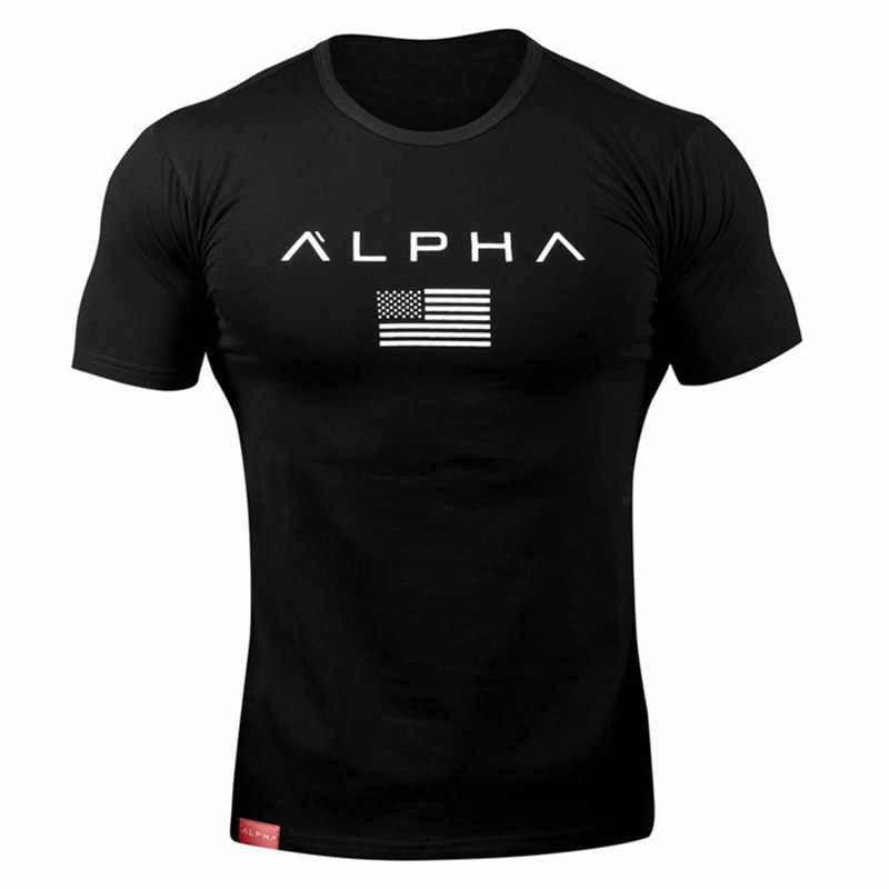 T-shirt da uomo in cotone a manica corta T-shirt casual con stampa nera palestra Fitness Bodybuilding allenamento T-shirt top abbigliamento estivo da uomo di marca