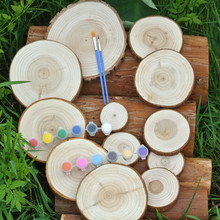 5pcs Round Wood Slices DIY Wooden Craft Decorations Birthday Party Wedding Cards Decoration Unfinished Gift