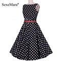 2016 novo pin up vestidos 3xl 4xl plus size mulheres verão retro festa casual e elegante robe rockabilly 50 s vintage polka dot dress